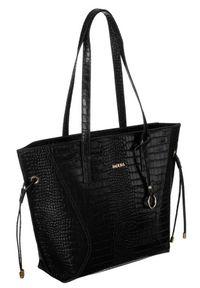 Skórzana torebka damska czarna Badura T_D215CZ_CD. Kolor: czarny. Wzór: aplikacja. Materiał: skórzane