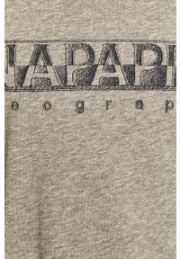 Szary t-shirt Napapijri z nadrukiem, na co dzień, casualowy