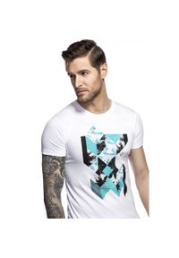 Biały t-shirt Giacomo Conti z nadrukiem, na lato