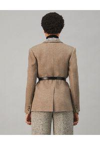 Tory Burch - TORY BURCH - Brązowa marynarka z wełny. Kolor: brązowy. Materiał: wełna. Długość: długie. Styl: klasyczny