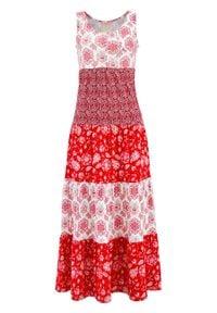 Czerwona sukienka bonprix maxi, na lato, z nadrukiem