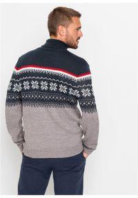 Sweter z golfem w norweski wzór bonprix szary melanż. Typ kołnierza: golf. Kolor: szary. Materiał: materiał, akryl. Wzór: melanż