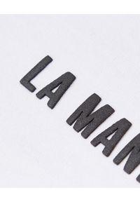 LA MANIA - Krótki biały t-shirt Zion. Kolor: biały. Długość: krótkie. Wzór: aplikacja #7