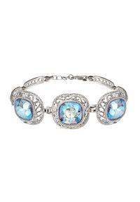 Polcarat Design - Bransoletka srebrna zegarkowa Swarovski Elements L 1893. Materiał: srebrne. Kolor: srebrny. Wzór: aplikacja. Kamień szlachetny: kryształ