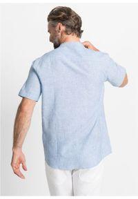 Niebieska koszula bonprix krótka, melanż, z krótkim rękawem
