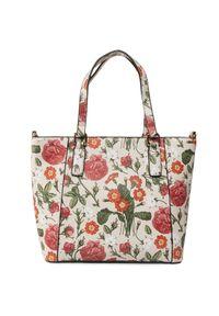 Beżowa torebka klasyczna Nobo klasyczna, w kwiaty