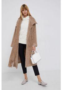 Sisley - Płaszcz z domieszką wełny. Kolor: beżowy. Materiał: wełna