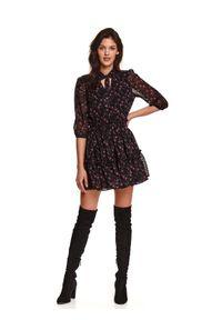 Czarna sukienka TOP SECRET w kwiaty, koszulowa