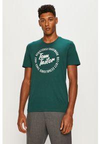 Zielony t-shirt Tom Tailor Denim z okrągłym kołnierzem, casualowy
