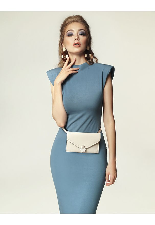 Madnezz - Sukienka Jagg - brudny niebieski. Okazja: na imprezę. Kolor: niebieski. Materiał: wiskoza, elastan