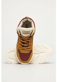 Złote buty sportowe Big-Star na sznurówki, z cholewką, z okrągłym noskiem