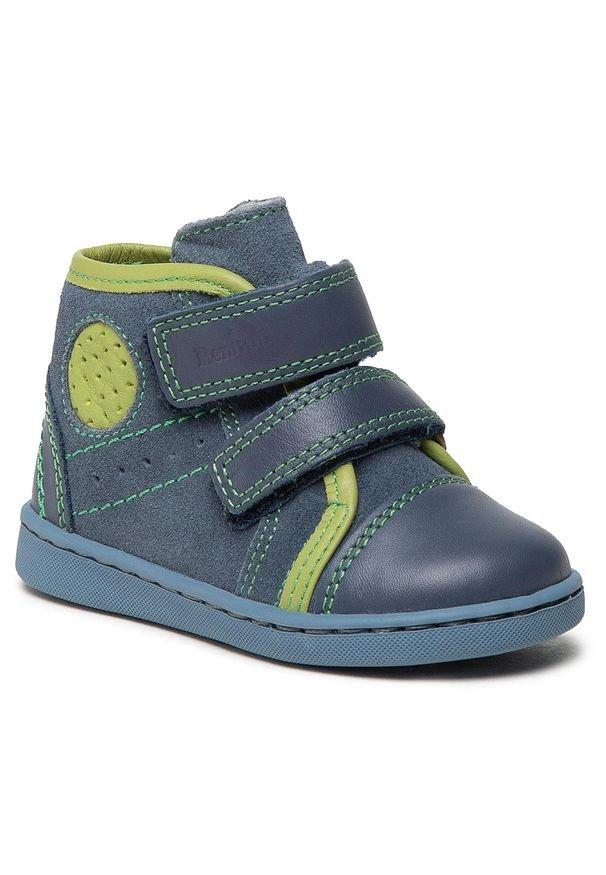 RenBut - Trzewiki RENBUT - 13-1423 Jeans Zielony. Kolor: niebieski. Materiał: skóra, zamsz. Sezon: zima, jesień