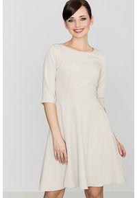 e-margeritka - Klasyczna sukienka przed kolano beżowa - m. Kolor: beżowy. Materiał: wiskoza, poliester, materiał. Typ sukienki: rozkloszowane. Styl: klasyczny