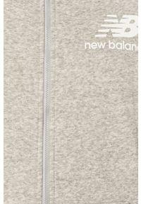 Szara bluza rozpinana New Balance casualowa, z nadrukiem, na co dzień, z kapturem