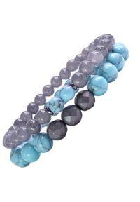 Sis&Me - BRON Zestaw bransoletek z kamieni na gumce szara turkus unisex. Kolor: szary. Kamień szlachetny: turkus