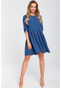 e-margeritka - Sukienka odcinana w pasie wiosenna niebieska - m. Okazja: do pracy, na randkę. Kolor: niebieski. Materiał: poliester, materiał, elastan. Sezon: wiosna. Typ sukienki: oversize. Styl: elegancki