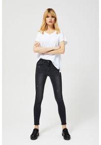 MOODO - Jeansy typu high waist z lampasami. Stan: podwyższony. Wzór: gładki