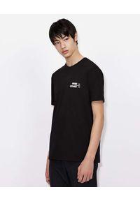 Armani Exchange - ARMANI EXCHANGE - Czarny t-shirt z błyszczącymi detalami. Kolor: czarny. Materiał: materiał. Wzór: aplikacja