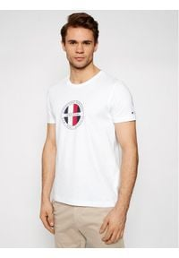 TOMMY HILFIGER - Tommy Hilfiger T-Shirt Circular Logo MW0MW16593 Biały Regular Fit. Kolor: biały