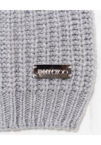 Jimmy Choo - JIMMY CHOO - Kaszmirowa szara czapka z logo. Kolor: szary. Materiał: kaszmir. Sezon: zima