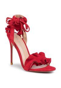 Czerwone sandały Eva Minge eleganckie, z aplikacjami