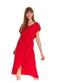 Różowa sukienka TOP SECRET maxi, na co dzień, z kopertowym dekoltem