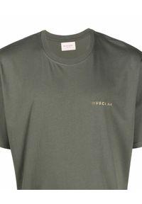 BUSCEMI - Ciemnozielony t-shirt z logo. Kolor: zielony. Materiał: bawełna. Wzór: aplikacja