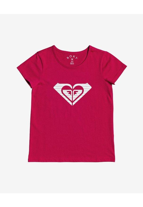 Czerwony t-shirt Roxy z nadrukiem, z okrągłym kołnierzem