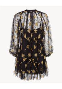 Ermanno Firenze - ERMANNO FIRENZE - Czarna sukienka z haftem Astri. Okazja: na imprezę, na randkę. Kolor: czarny. Materiał: tiul, materiał. Wzór: haft. Typ sukienki: proste. Styl: elegancki. Długość: mini