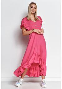 Makadamia - Letnia Sukienka z Asymetryczną Falbanką - Amarantowa. Kolor: różowy. Materiał: wiskoza, elastan. Sezon: lato. Typ sukienki: asymetryczne