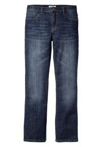 Dżinsy ze stretchem Slim Fit Bootcut bonprix ciemnoniebieski denim. Kolor: niebieski