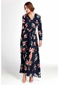 Niebieska długa sukienka Nife w kwiaty, kopertowa
