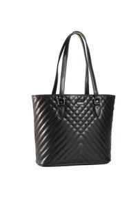 Czarna torebka klasyczna Wittchen klasyczna, w kolorowe wzory