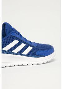 Niebieskie buty sportowe Adidas z cholewką, do biegania, z okrągłym noskiem, na sznurówki