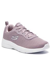 Fioletowe buty do fitnessu skechers na płaskiej podeszwie, z cholewką