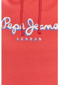 Różowa bluza Pepe Jeans z nadrukiem, z kapturem