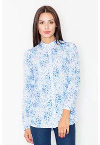 Niebieska bluzka z długim rękawem Figl ze stójką