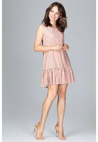 Lenitif - Trapezowa sukienka z rozkloszowanym dołem z falbaną. Okazja: na co dzień. Materiał: materiał. Wzór: gładki, grochy. Typ sukienki: trapezowe. Styl: casual