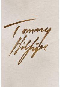 Biała bluzka z długim rękawem TOMMY HILFIGER na co dzień, casualowa, z aplikacjami
