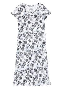 Koszula nocna bonprix biel wełny - szary wzorzysty