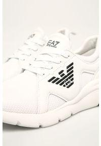 Białe buty sportowe EA7 Emporio Armani na sznurówki, na średnim obcasie, z cholewką, na obcasie