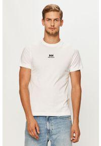 Biały t-shirt Helly Hansen z nadrukiem, z okrągłym kołnierzem, na co dzień, casualowy