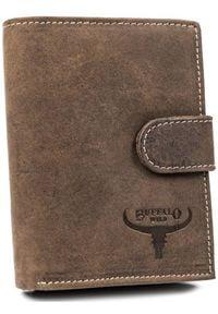 BUFFALO WILD - Portfel męski brązowy Buffalo Wild RM-03L-HBW BROWN. Kolor: brązowy. Materiał: skóra