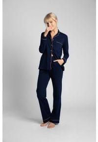 MOE - Długie Spodnie Piżamowe z Lamówkami - Granatowe. Kolor: niebieski. Materiał: bawełna. Długość: długie
