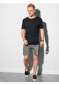 Ombre Clothing - T-shirt męski bawełniany z nadrukiem S1387 - czarny - XXL. Kolor: czarny. Materiał: bawełna. Wzór: nadruk