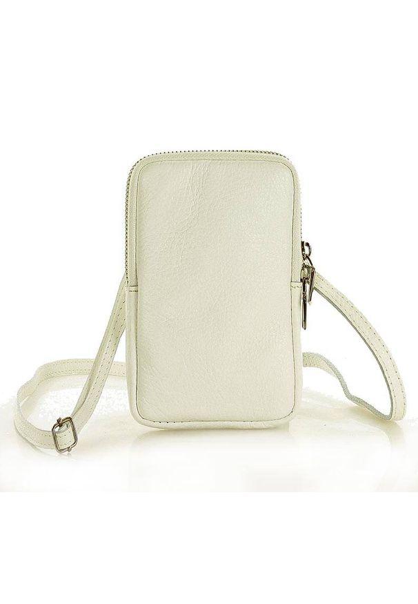 GENUINE LEATHER - MARCO MAZZINI Etui na smartfona biały. Kolor: biały