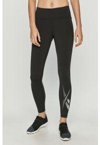 Czarne legginsy Reebok z podwyższonym stanem, z nadrukiem
