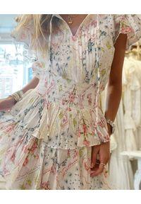LOVE SHACK FANCY - Wzorzysta sukienka mini Audette. Kolor: biały. Materiał: bawełna. Typ sukienki: plisowane. Długość: mini