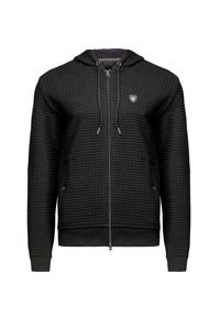 Czarna bluza EA7 Emporio Armani z kapturem, sportowa