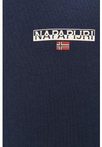 Niebieska koszulka z długim rękawem Napapijri z nadrukiem, na co dzień, casualowa